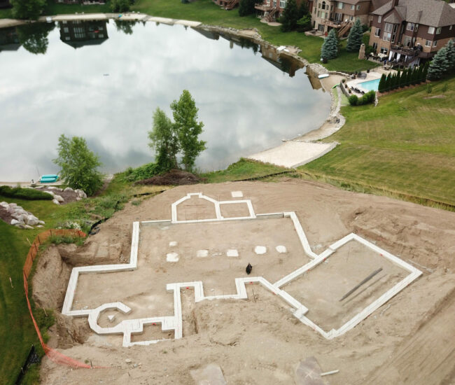 Aerial_Footings_for_poured_wall_Northville